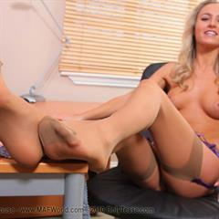 Natasha Anastasia stockings OnlyTease secretary pantyhose mafworld office garter blonde nylons