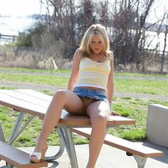 jeans miniskirt shooshtime pantyless outdoor upskirt nonnude blonde shaved babe outside