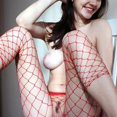 Dana D fishnet pantyhose large areolas puffy nipples red fishnets plump pussy brunette met-art