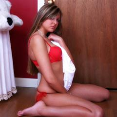 Craving Carmen red lingerie 8teenfiles brunette teen solo garment