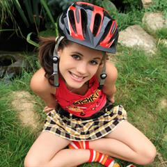 Caprice babesfarm pigtails bicycle outdoor helmet babe teen solo bike