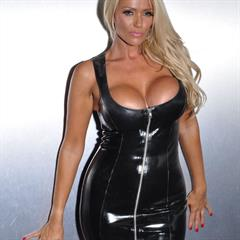 Lucy Zara platinum blonde classic-ladies black dress minidress upskirt shaved boots latex