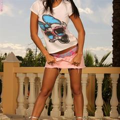 Sasha Cane panties down infocusgirls black hair banisters fake tits miniskirt headband brunette ifgirls
