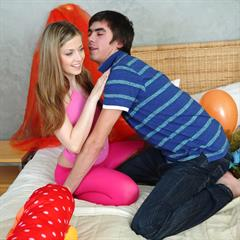 Abigaile Johnson pussylicking tit licking spunkybee balloons balloon blonde shaved teen oral