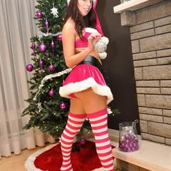 Tiffany Preston santa tiffanypreston striped socks glass dildo christmas fake tits implants brunette