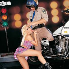 Gina Lynn schoolgirl motorbike pichunter hardcore big tits upskirt police shaved boots