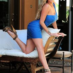 Love Gisele platinum blonde blue dress minidress xogisele big tits garment
