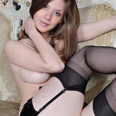 Anita C plump pussy tcuniverse suspenders stockings blue eyes brunette necklace lingerie