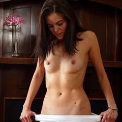 Abby Winters abbywinters fireplace brunette spread hairy