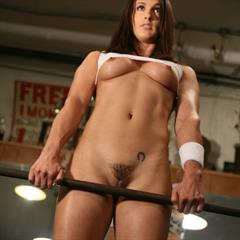 Misty Anderson shirt over breasts sexymusclegirls bottomless muscular big tits weights workout muscle sports