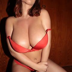 Stacey Poole big naturals red lingerie erocurves brunette tits busty bra garment