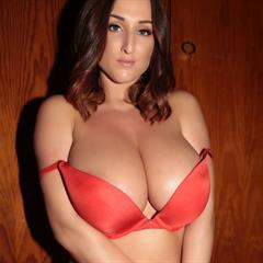 Stacey Poole big naturals red lingerie erocurves brunette tits busty bra