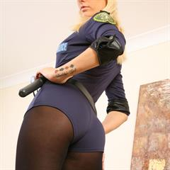 Natasha Marley platinum blonde black pantyhose yourdailygirls only-opaques blue eyes OnlyTease hotpants uniform