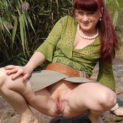 allover30 miniskirt redhead upskirt pissing outdoor mature peeing shaved solo