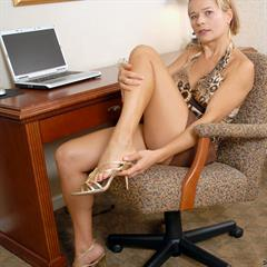 Viktoria animal print secretary minidress glasses anilos mature office laptop blonde