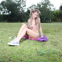 pigtails ellie18 outdoor blonde grass outside