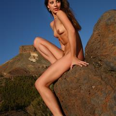 Lorena B long hair mountains nice tits brunette outdoor outside nature rocks solo