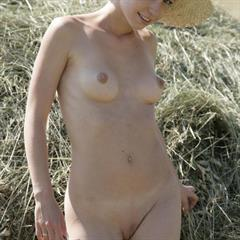 androgynous short hair straw hat pornpin shaved babe hay garment
