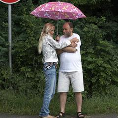 beautyandthesenior young and old payserve hardcore umbrella outdoor blonde teen outside