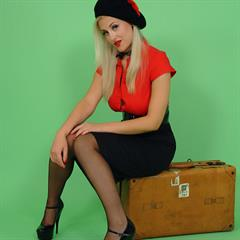 Sarah Matty black skirt stockings miniskirt pinupwow pasties nonnude nylons blonde pinup