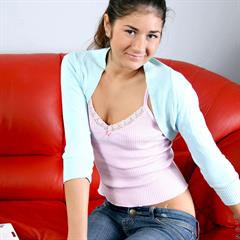 Nessa Shine Karina L Agnessa red couch ugly sofa brunette nubiles netbook laptop
