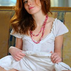 Crystal Sienne Renata small tits green eyes necklace redhead asshole buceta Adel P