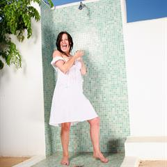 Colette white dress simonscans black hair shower brunette garment