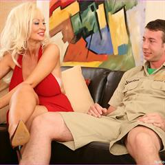 Brittany ONeil nationalpornographic platinum blonde MILF and young red dress ugly sofa mature heels pumps garment
