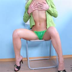 Peggy green shirt open nubiles blonde chair teen