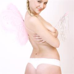 Olga D Lika artnudegalleries white background plump pussy amourangels blonde shaved busty wings