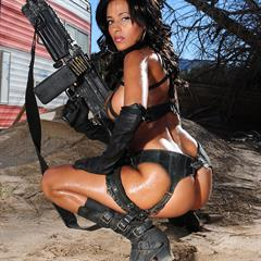Rita Gordon G actiongirls black boots crocostars military big tits outdoor soldier bikini