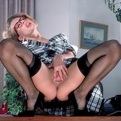 Sammi Jessop red lingerie crocofetish plaid skirt schoolgirl secretary stockings glasses upskirt