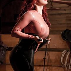 Bianca Beauchamp black catsuit latex catsuitlatex seethrough fake boobs long hair latexlair big tits silicone