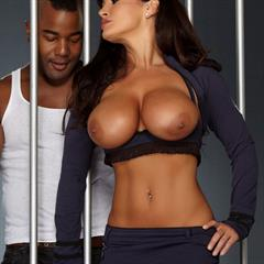 Lisa Ann pierced navel interracial cum on tits thelisaann BTK boots hardcore fishnets big uniform