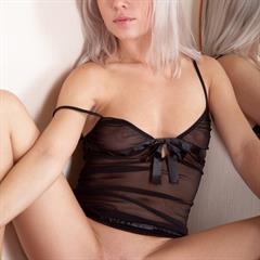 Laura Crystal Isabella C Sonia platinum blonde black lingerie totally shaved plump pussy small tits seethrough bottomless