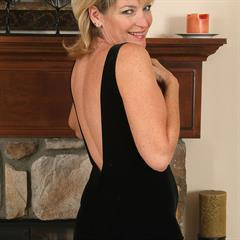 Tina Tosh black dress allover30 minidress AllOver mature blonde thong MILF