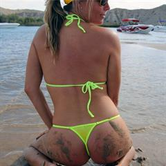 malibustrings green bikini outdoor nonnude mature curvy beach solo sand