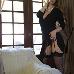 Stella Cox big naturals black dress thigh high girlfolio long hair stockings necklace lingerie glamour