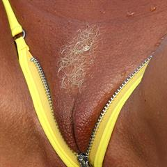 michelles-world yellow bikini crotchless outdoor closeup blonde mature tanned