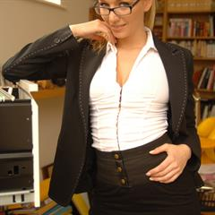 Hayley Marie Hayley-Marie Coppin breasts pulled out cherrynudes shirt open secretary stockings glasses topless office