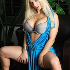 Jenny Poussin jennypoussin blue dress minidress fake tits big lingerie armchair implants busty