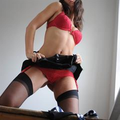 Katie Harte Hart black stockings stmackenzies red lingerie necktie window stairs garter