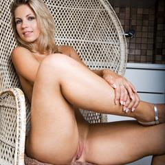 Jenni Kohoutova A by Torber Raun wicker chair plump pussy czech girl blue eyes armchair