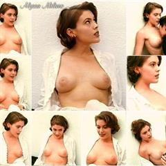 Alyssa Milano freecelebritymoviearchive breasts pulled out puffy nipples celebrity sexy pose actress celeb