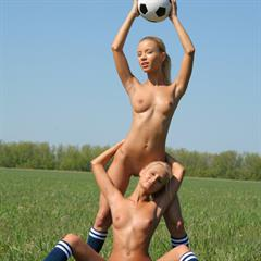 Marina C Sandy A football met-art outdoor soccer sports shaved blonde