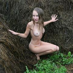 Masha P meadow cute smile imagefap barefoot hay bale trimmed outdoor blonde shaved
