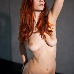 Piper Fawn Ariel gray background bcash4you long hair redhead solo babe monocolor